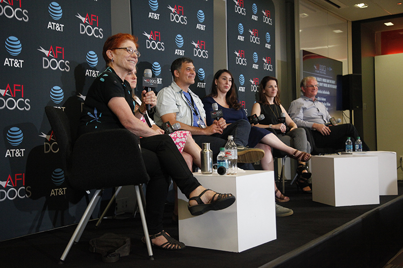 "The ""Year One"" panel on VR, left to right: Moderator Pat Aufderheide, founder, Center for Media and Social Impact; Emma Mankey Hidem, founder and CEO, Sunnyside VR; Brad Lichtenstein, filmmaker, 'Across the Line'; Gina Scarpulla, supervising producer, Discovery Communications; Amy Nichols, co-founder, bThere Inc.; Mitch Gelman, senior fellow, Newseum. Photo: Casey Freeman Howe"